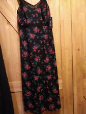 I Love Ronson Summer Dress Black with Red Floral Zip Side Lined Size XS