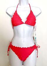 Seafolly Triangle Ruffle Edge Neon Red Bikini. NWT Retails $116 Price $72 Size 4