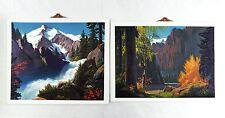 1980's Lee LeBlanc Tumbling Torrent and Mountain Landscape Vacuum Form Print Set