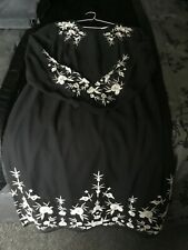 Beautiful ladies black embroidered dress size 16