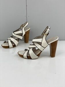 Zoe Wittner Kendra Women's Block High Heel Adjustable Shoes Size 40 White