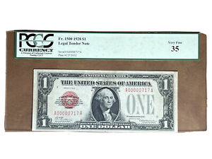 1928 Red Seal $1 Washington U.S Legal tender Note Certificate PCGS 35 Low Serial