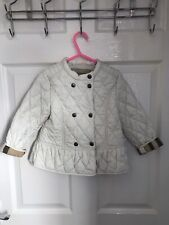 STUNNING GENUINE GIRLS BURBERRY QUILTED WHITE COAT AGED 3 YEARS