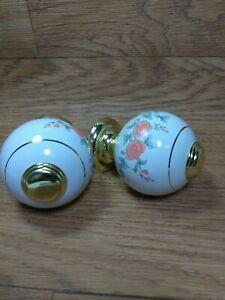 Vtg Elegant, Powder Room, White Porcelain Floral Rose Gold Ring Trim Door Knobs