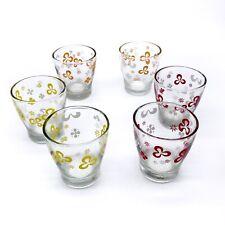 Vintage Retro Flower Cordial Tumbler Glasses Set of 6