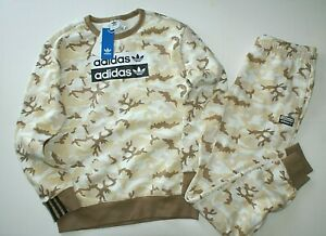 Adidas Big Boy Girl Camouflage Original Crew Sweatshirt Top & Pants Set XL  NWT