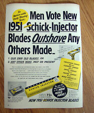 1951 Schick Injector Razor Blades Ad Outshave Any