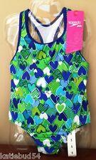 Girls Speedo Royal Blue Lime Green Heart One Piece Swimsuit Tank w Racer