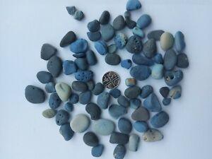 150g Rare Black Blue Galaxy Slag Sea Glass Seaham Smooth Pebbles Bulk Set 26