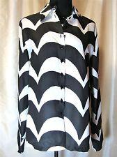 EUC Marimekko 38/L 100% Silk Ivory Black Bold Abstract Silk Button Front Blouse