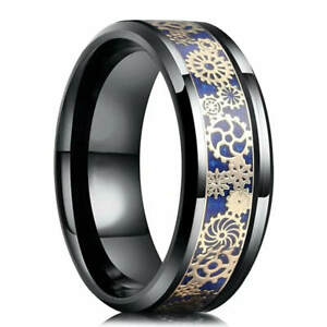 Men's Classic Stainless Steel Ring Double Groove Size 8