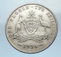 1936 AUSTRALIA UK King George V KANGAROO Antique Silver Shilling Coin i73773
