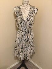 DKNY Beige Print Wrap Dress Size S