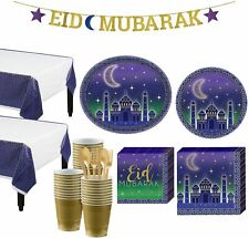 Eid Basic Party Kit and Supplies for 32 Guests, Includes Table Covers and More
