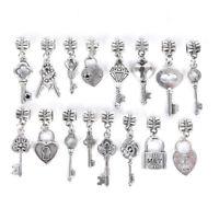 16Pcs/Set Mixed Metal Charm Tibetan Silver Key Hole Bead Pendants Jewelry Making