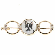 Vintage Boston Terrier Reverse Carved Pointed Quartz 14k Pin