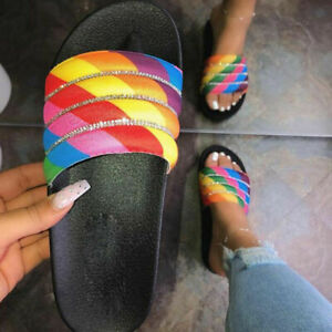 Womens Sandals Flat Open Toe Plus Slippers Sequin Beach Casual Shoes Summer
