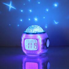 Baby Children Alarm Clock Room Sky Star Night Light Projector Lamp Bedroom Music