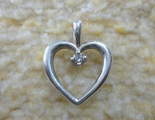 "James Avery 925 Sterling Heart with Diamond Pendant  9/16"" Long & 20"" Long Chain"