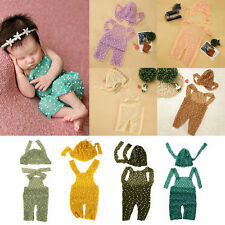 Newborn Baby Boys Girls Knit Crochet Romper Hat Photo Photography Props Outfit