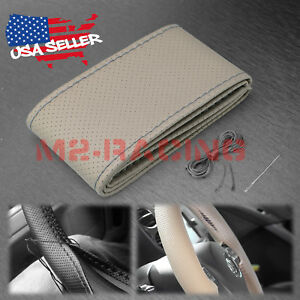 Gray Dot PVC Leather DIY Car Steering Wheel Cover With Needles and Thread