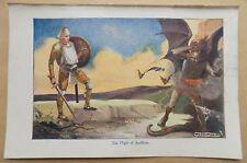 Antique Book Print plate 1940 S pèlerins PROGRESS-Flight of Apollyon