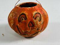 Vintage Folk Art handmade Halloween JOL Pumpkin Candy Container
