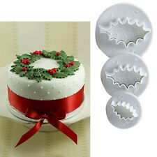 XMAS Holy Leaf Fondant Cake Cupcake Plunger Cutter Sugarcraft Mould DIY Tools #T