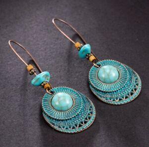 Vintage Boho Long Dangle Drop Earrings Bronze and Turquoise Colour for Women UK