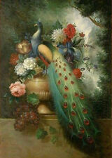 ZWPT232 fashion 100% hand-painted flower peacock wall art oil painting on canvas