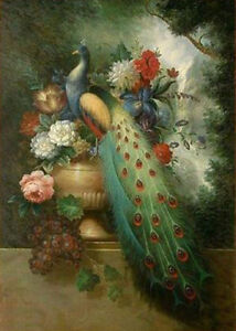 ZWPT232 100% hand-painted color peacock on flowers art oil painting on canvas