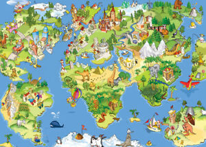 500 Pcs Puzzle Cartoon World Map Animals Landmarks Jigsaw Kids Educational Toys