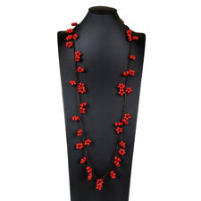 Wooden Beaded Choker Wood Bead Long Necklace Fashion Jewelry - Red Twin Flower
