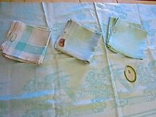 Vtg.CZECHOSLOVAKIA,LINEN DAMASK TABLECLOTH,19 NAPKINS,AQUA,ART DECO BIRDS,60X80""