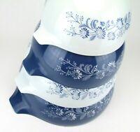 Pyrex Cinderella Mixing Bowl Set 4 Colonial Mist Blue White 441 442 443 444