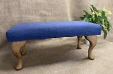 Hand Crafted Blue Linen Linwood Fabric Footstool/Ottoman -Queen Anne Wooden Legs