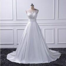 A Line Ivory/White Lace Applique Wedding Dresses Satin Bridal Gown Custom  Size