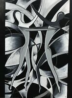 Abstract Couple - Black And White Pattern Wall Art Large Poster & Canvas Picture