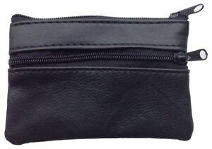 Unisex Ladies/Mens Black Soft Leather Zip/Stud Pocket Coin Change Money Purse 02