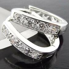 FS978 GENUINE 18K WHITE G/F GOLD SOLID DIAMOND SIMULATED HUGGIE HOOP EARRINGS