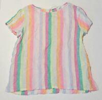 Woman's C&C CALIFORNIA Multi-Color Stripped Linen Blouse S/S Size Medium M