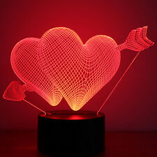 cambia de color 3d Ilusión Corazón LED noche mesa lámpara de trabajo