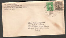 Philippines 1950 cover & letter John Ugalde Bacolod to MGM Metro Goldwyn