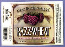 Oaken Barrel Brewing RAZZ-WHEAT beer label IND 12oz STICKER - alabaster backgrnd