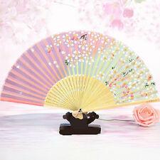 Retro Classical Chinese Fan Folding Bamboo Flower Pattern Lace Hand Fan Decor YA