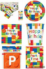 Building Blocks Party Theme Complete Birthday Set For 8 Cups Plates Napkins