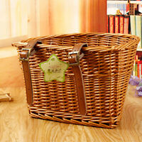 Wicker Bike Shopping Handlebar Bicycle Panniers Basket Container Cargo Storage~