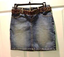 Denim Mini Jean Skirt, Junior 5 - Belted No Boundaries - Acid Wash - Ships Free