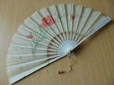ANTIQUE FOLDING HAND FAN HAND PAINTED CHINESE