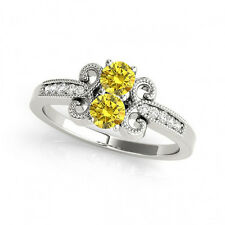 1.097 Cts Yellow VS2-SI1 2 Stone Diamond Solitaire Engagement Ring 14k WhiteGold
